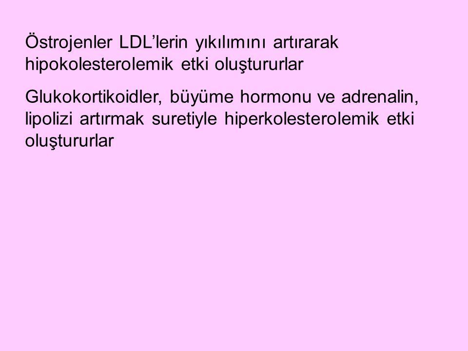 Östrojenler LDL'lerin yıkılımını artırarak hipokolesterolemik etki oluştururlar