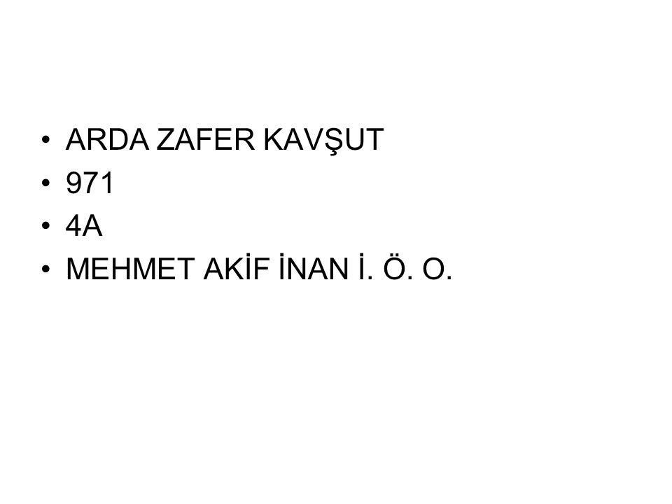 ARDA ZAFER KAVŞUT 971 4A MEHMET AKİF İNAN İ. Ö. O.