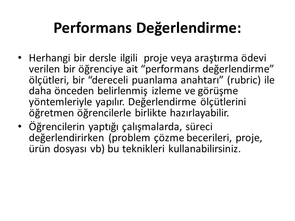Performans Değerlendirme: