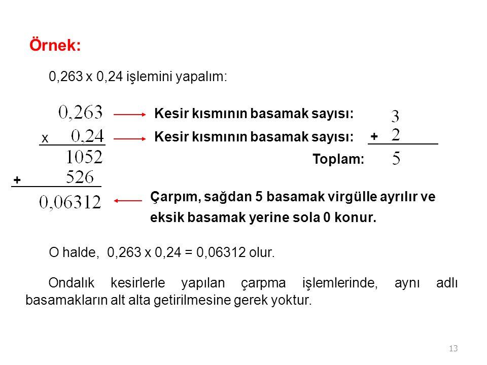 Örnek: 0,263 x 0,24 işlemini yapalım: Kesir kısmının basamak sayısı: x