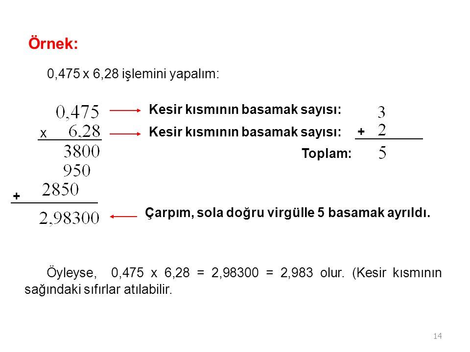 Örnek: 0,475 x 6,28 işlemini yapalım: Kesir kısmının basamak sayısı: x