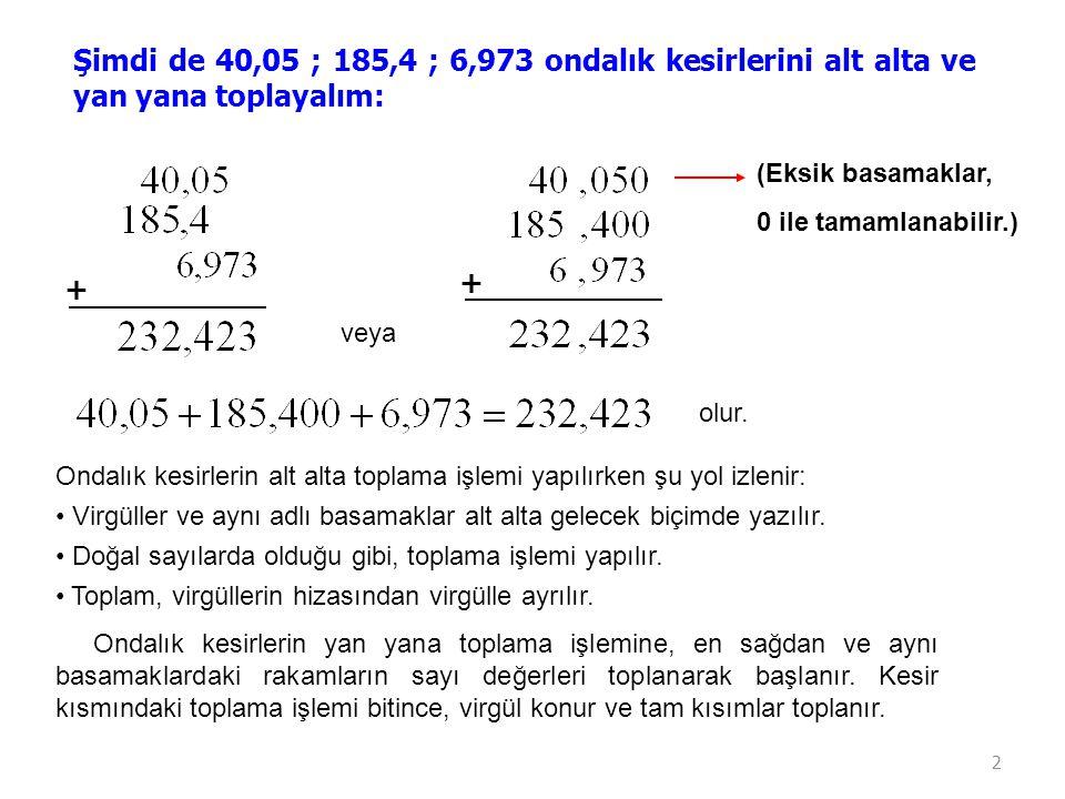 Şimdi de 40,05 ; 185,4 ; 6,973 ondalık kesirlerini alt alta ve yan yana toplayalım: