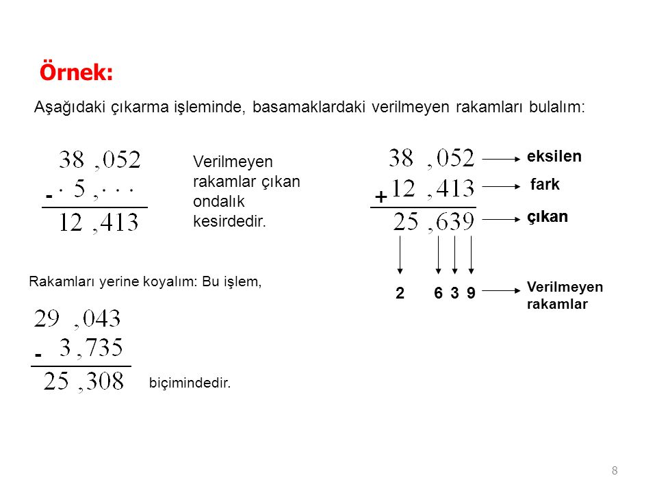 Örnek: Aşağıdaki çıkarma işleminde, basamaklardaki verilmeyen rakamları bulalım: eksilen. Verilmeyen rakamlar çıkan ondalık kesirdedir.