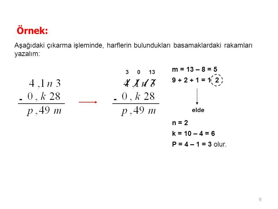 Örnek: Aşağıdaki çıkarma işleminde, harflerin bulundukları basamaklardaki rakamları yazalım: m = 13 – 8 = 5.