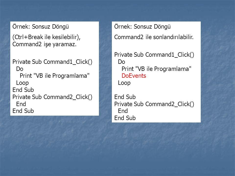 Örnek: Sonsuz Döngü (Ctrl+Break ile kesilebilir), Command2 işe yaramaz. Private Sub Command1_Click()