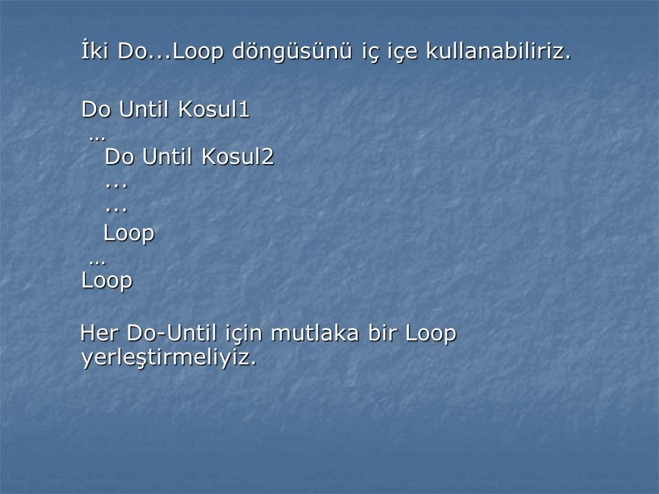 İki Do...Loop döngüsünü iç içe kullanabiliriz.