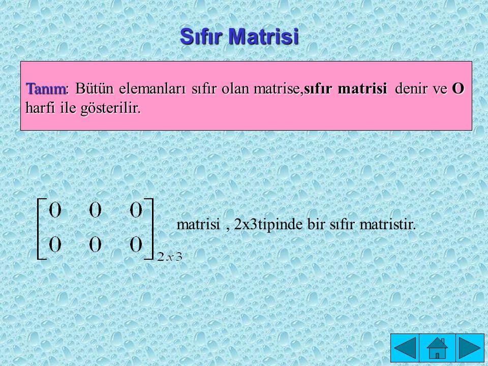 Sıfır Matrisi Tanım: Bütün elemanları sıfır olan matrise,sıfır matrisi denir ve O harfi ile gösterilir.