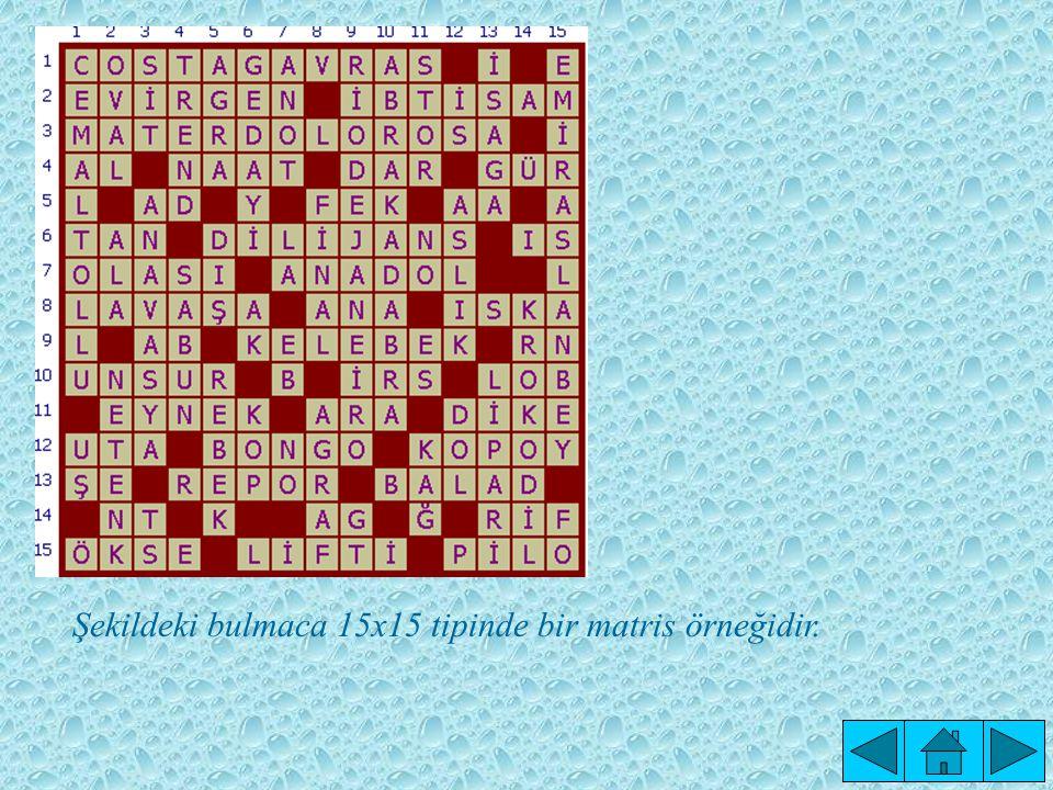 Şekildeki bulmaca 15x15 tipinde bir matris örneğidir.
