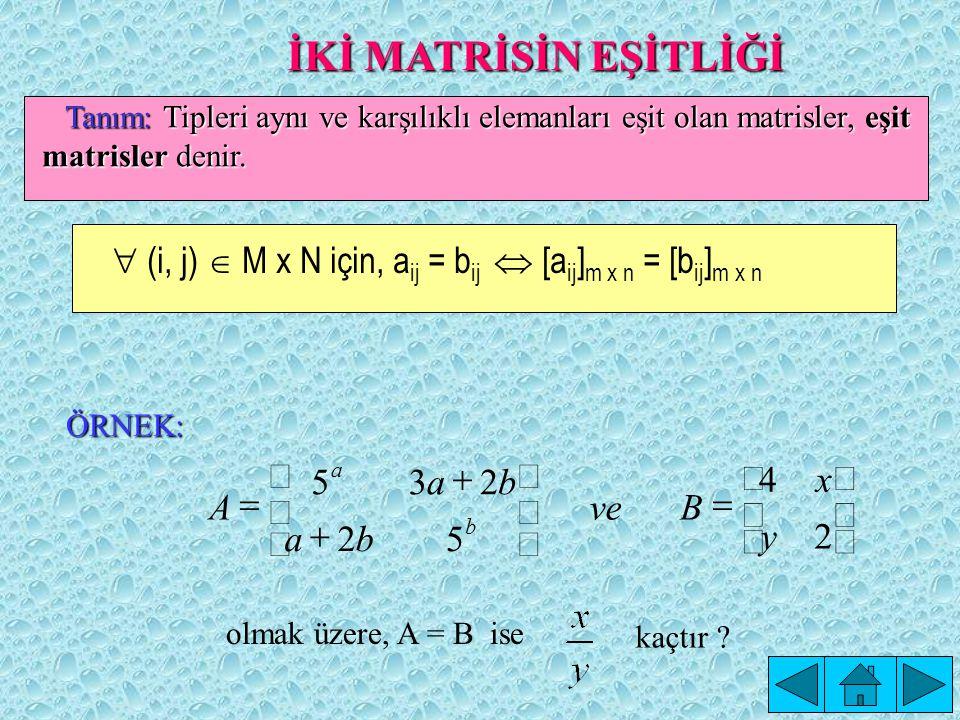 İKİ MATRİSİN EŞİTLİĞİ Tanım: Tipleri aynı ve karşılıklı elemanları eşit olan matrisler, eşit matrisler denir.