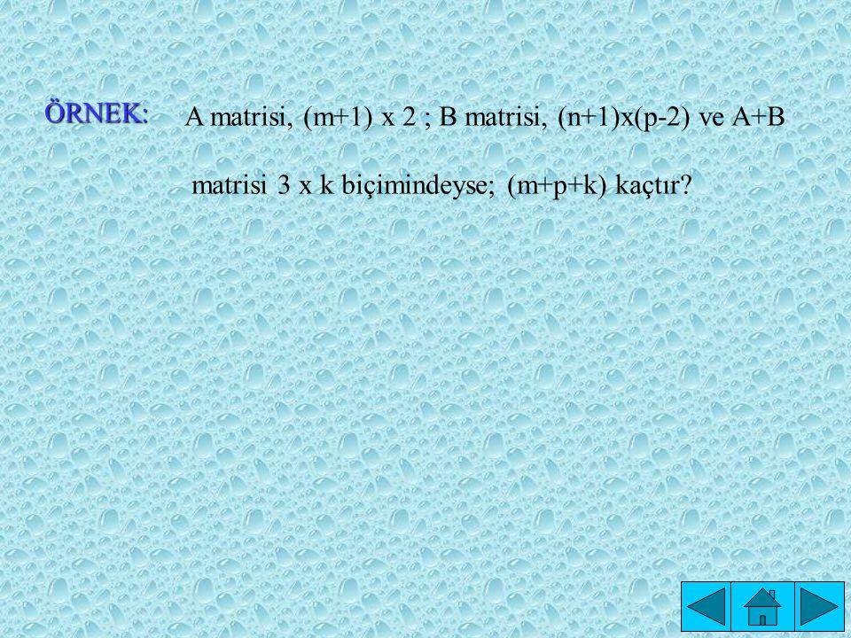 ÖRNEK: A matrisi, (m+1) x 2 ; B matrisi, (n+1)x(p-2) ve A+B.