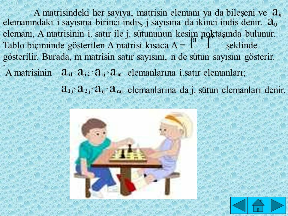 A matrisindeki her sayıya, matrisin elemanı ya da bileşeni ve