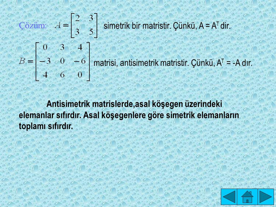 Çözüm: simetrik bir matristir. Çünkü, A = AT dir. matrisi, antisimetrik matristir. Çünkü, AT = -A dır.