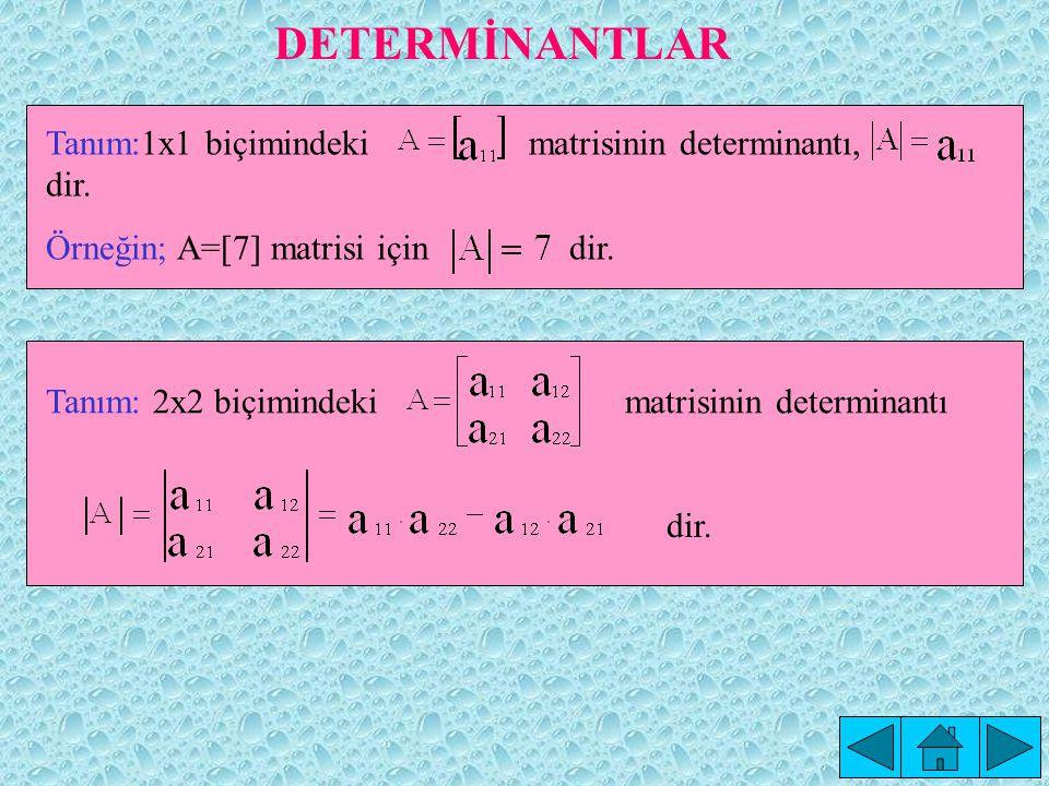 DETERMİNANTLAR Tanım:1x1 biçimindeki matrisinin determinantı, dir.