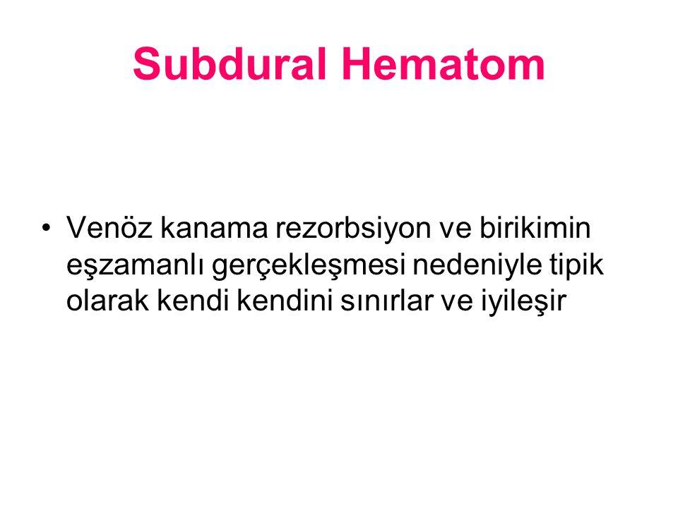 Subdural Hematom Venöz kanama rezorbsiyon ve birikimin eşzamanlı gerçekleşmesi nedeniyle tipik olarak kendi kendini sınırlar ve iyileşir.