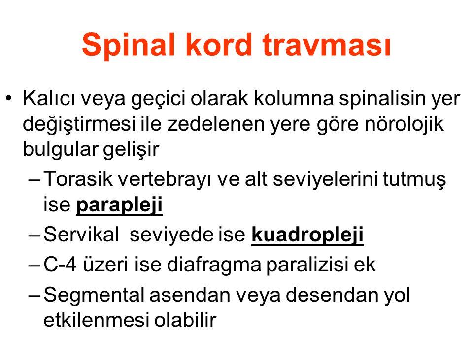 Spinal kord travması Kalıcı veya geçici olarak kolumna spinalisin yer değiştirmesi ile zedelenen yere göre nörolojik bulgular gelişir.
