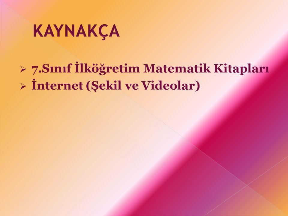 KAYNAKÇA 7.Sınıf İlköğretim Matematik Kitapları