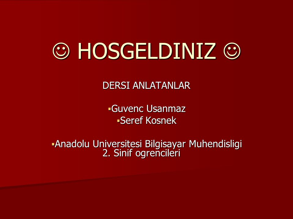 Anadolu Universitesi Bilgisayar Muhendisligi 2. Sinif ogrencileri