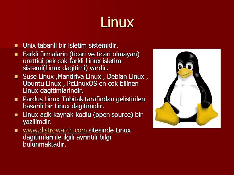 Linux Unix tabanli bir isletim sistemidir.