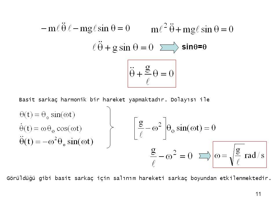 sin= Basit sarkaç harmonik bir hareket yapmaktadır. Dolayısı ile
