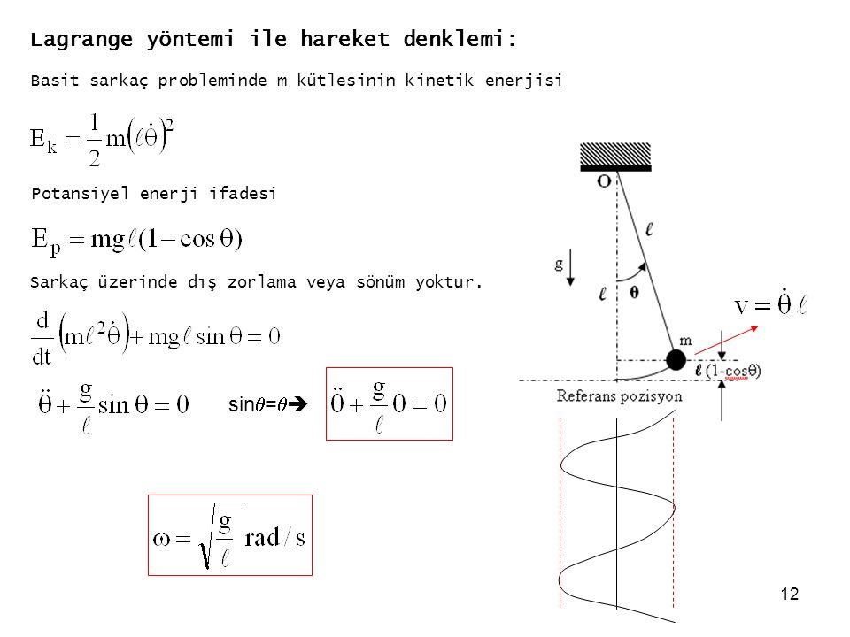 Lagrange yöntemi ile hareket denklemi: