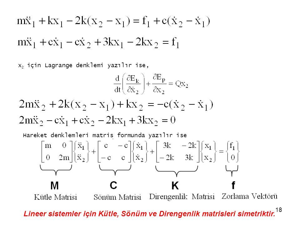 ZK x2 için Lagrange denklemi yazılır ise, Hareket denklemleri matris formunda yazılır ise.