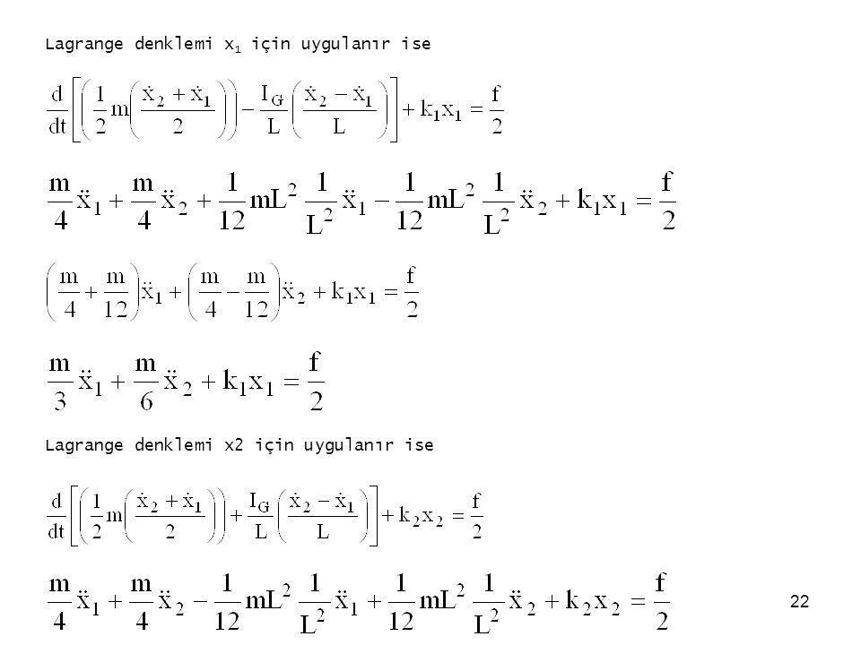 Lagrange denklemi x1 için uygulanır ise
