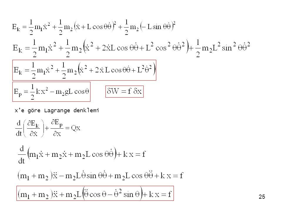 x'e göre Lagrange denklemi