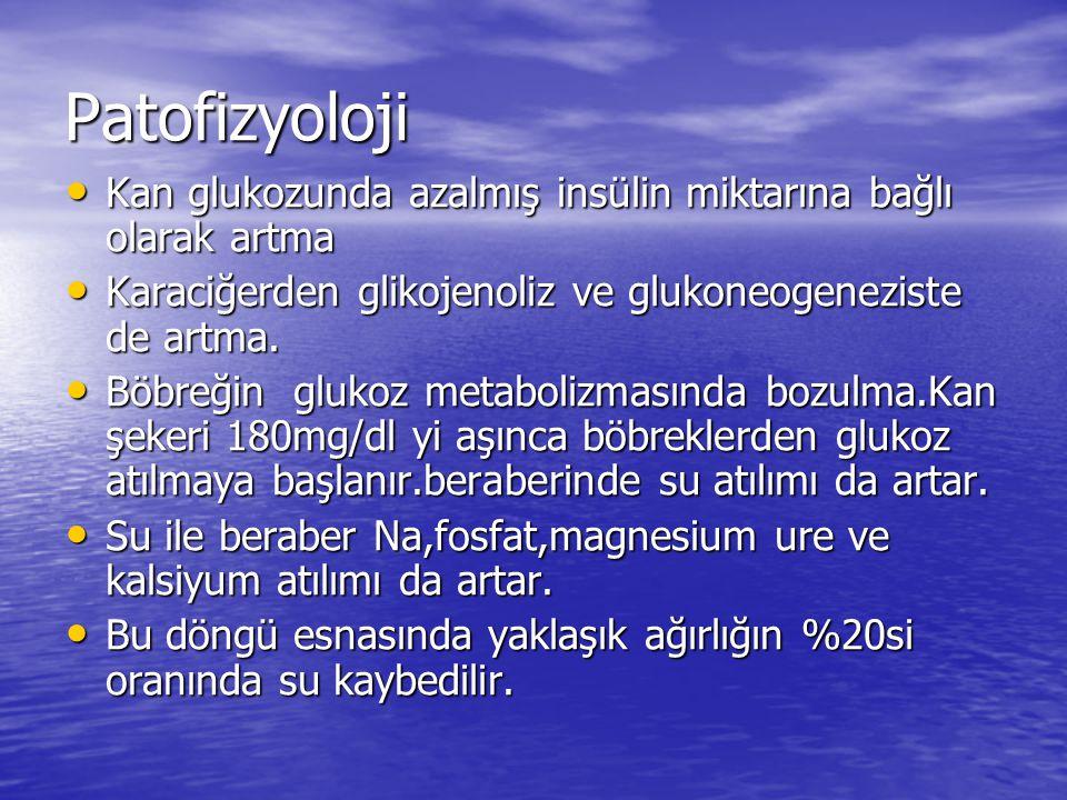 Patofizyoloji Kan glukozunda azalmış insülin miktarına bağlı olarak artma. Karaciğerden glikojenoliz ve glukoneogeneziste de artma.