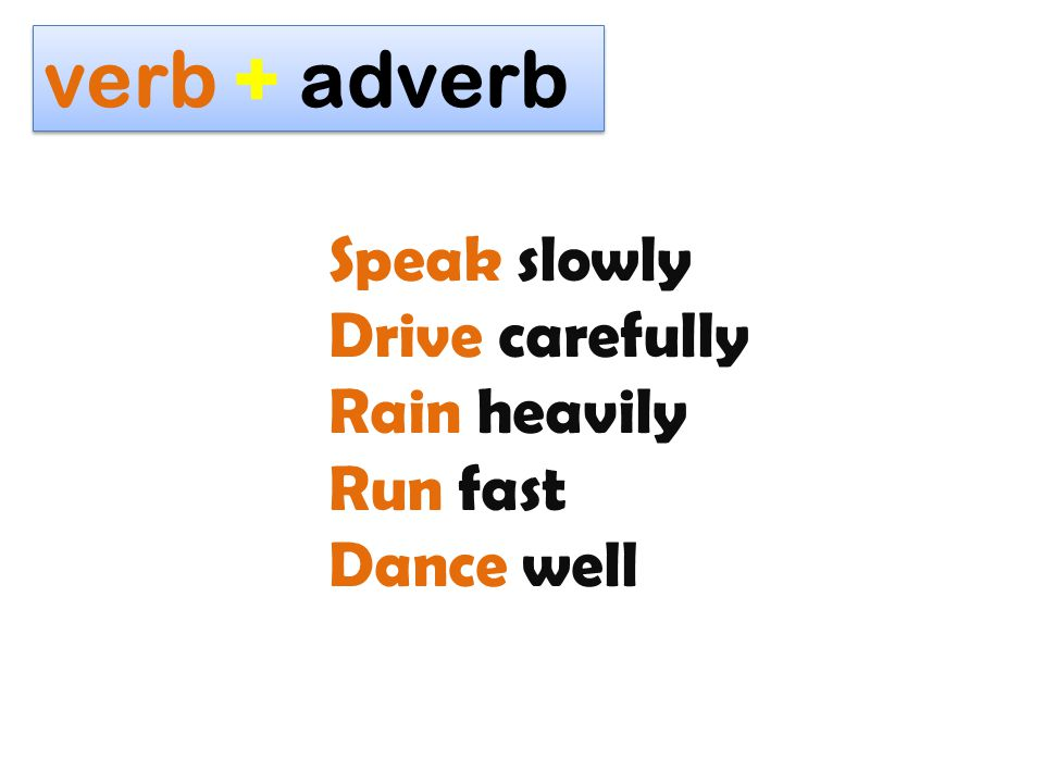 verb + adverb Speak slowly Drive carefully Rain heavily Run fast
