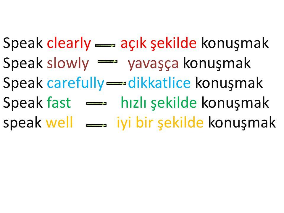 Speak clearly açık şekilde konuşmak