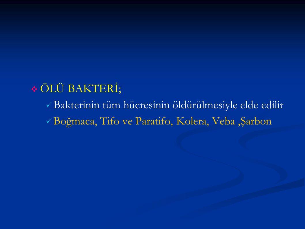 ÖLÜ BAKTERİ; Bakterinin tüm hücresinin öldürülmesiyle elde edilir