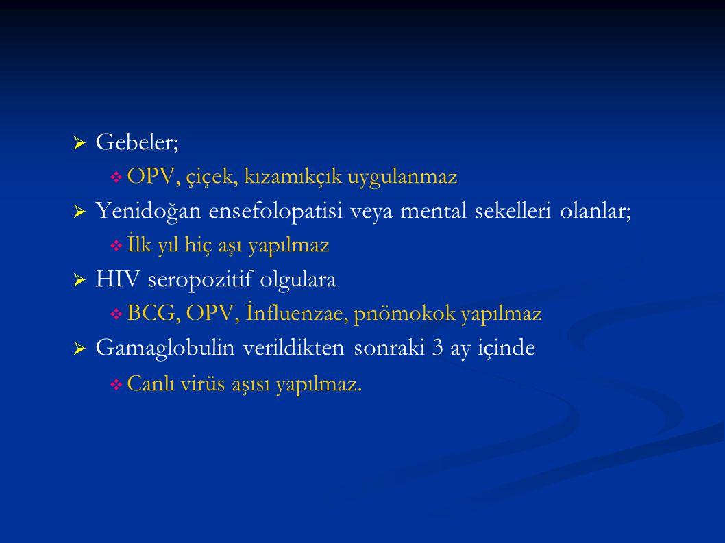 Yenidoğan ensefolopatisi veya mental sekelleri olanlar;