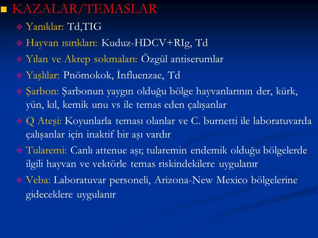 KAZALAR/TEMASLAR Yanıklar: Td,TIG