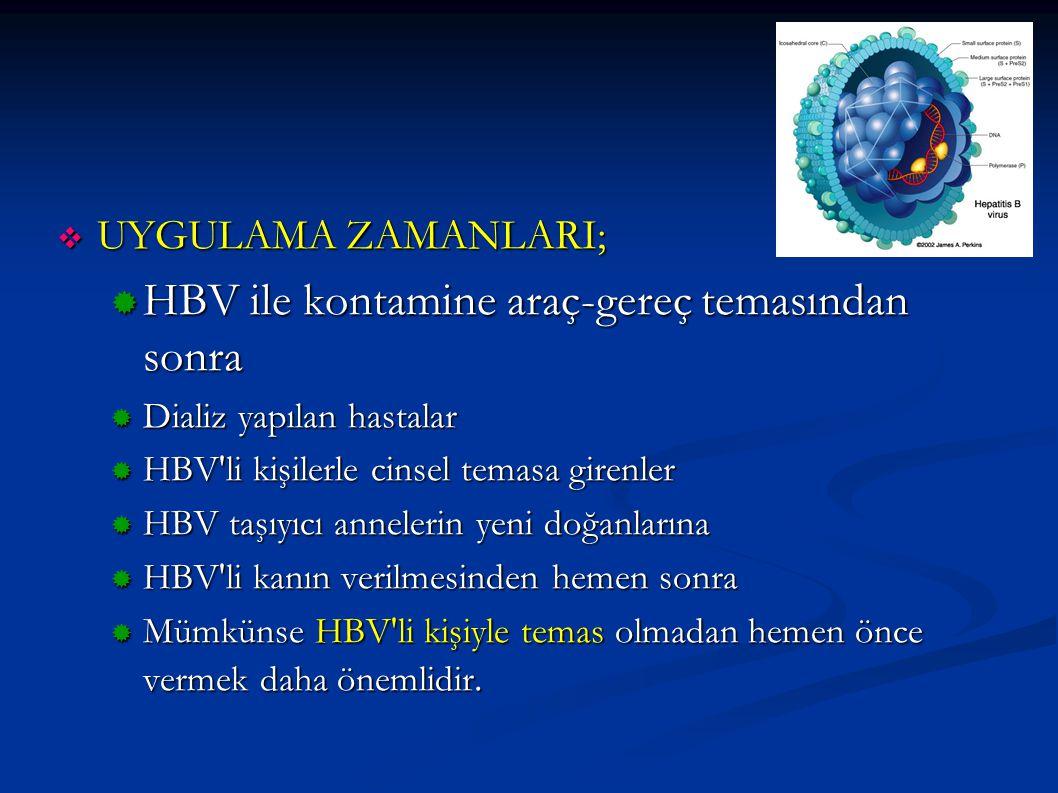 HBV ile kontamine araç-gereç temasından sonra