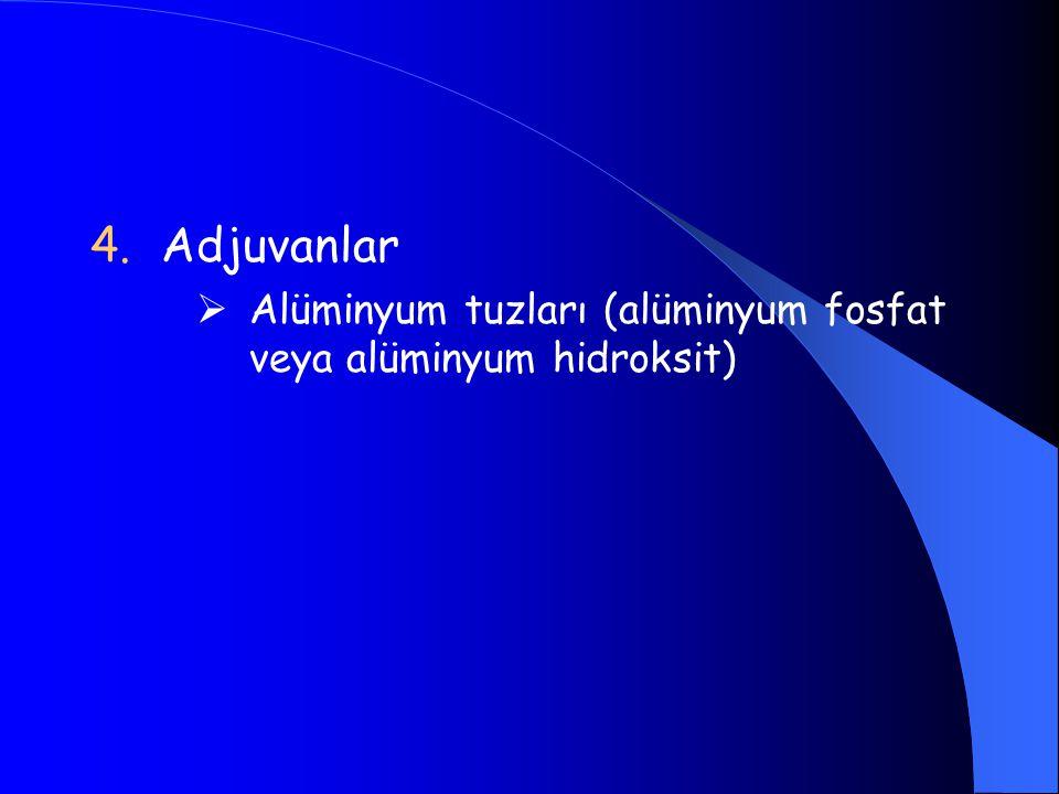 Adjuvanlar Alüminyum tuzları (alüminyum fosfat veya alüminyum hidroksit)