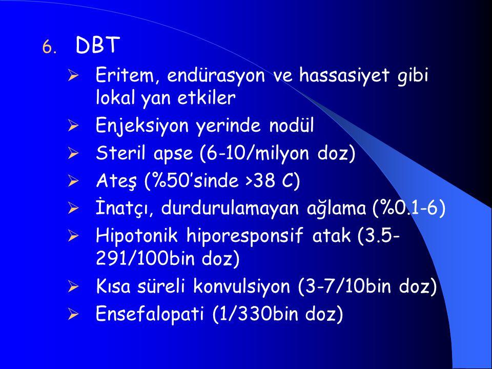 DBT Eritem, endürasyon ve hassasiyet gibi lokal yan etkiler