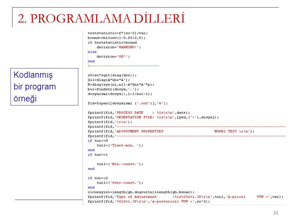 2. PROGRAMLAMA DİLLERİ Kodlanmış bir program örneği