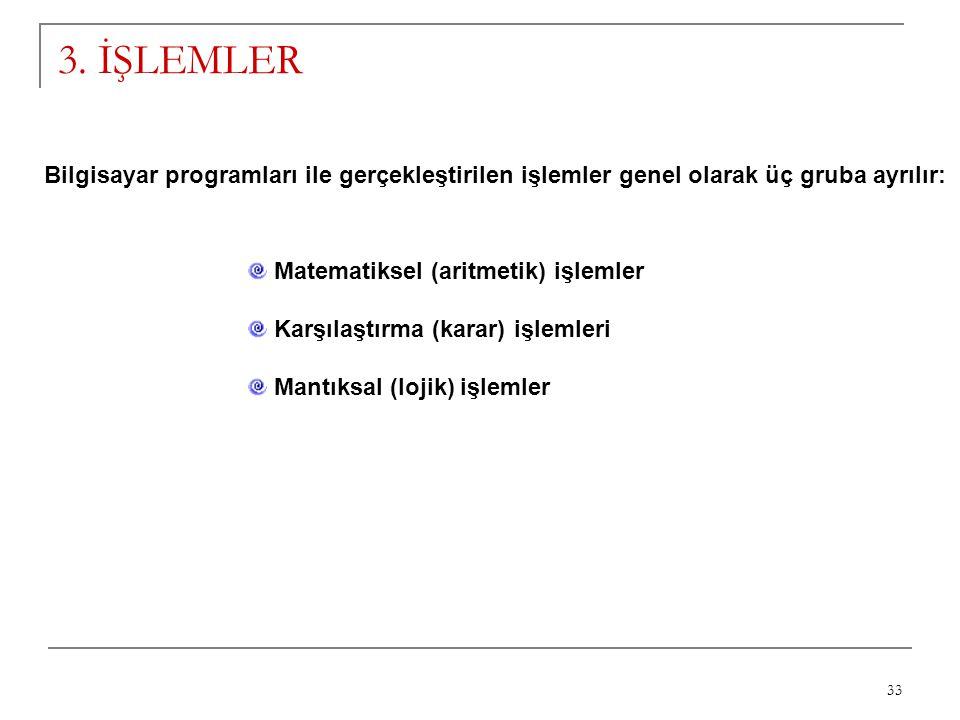 3. İŞLEMLER Bilgisayar programları ile gerçekleştirilen işlemler genel olarak üç gruba ayrılır: Matematiksel (aritmetik) işlemler.