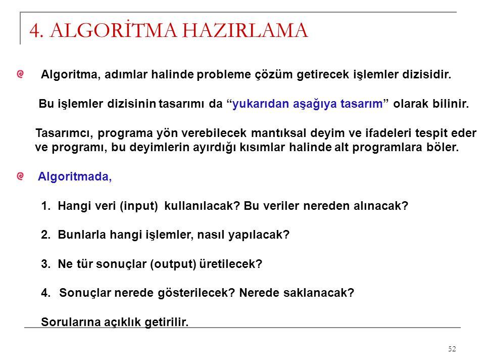 4. ALGORİTMA HAZIRLAMA Algoritma, adımlar halinde probleme çözüm getirecek işlemler dizisidir.