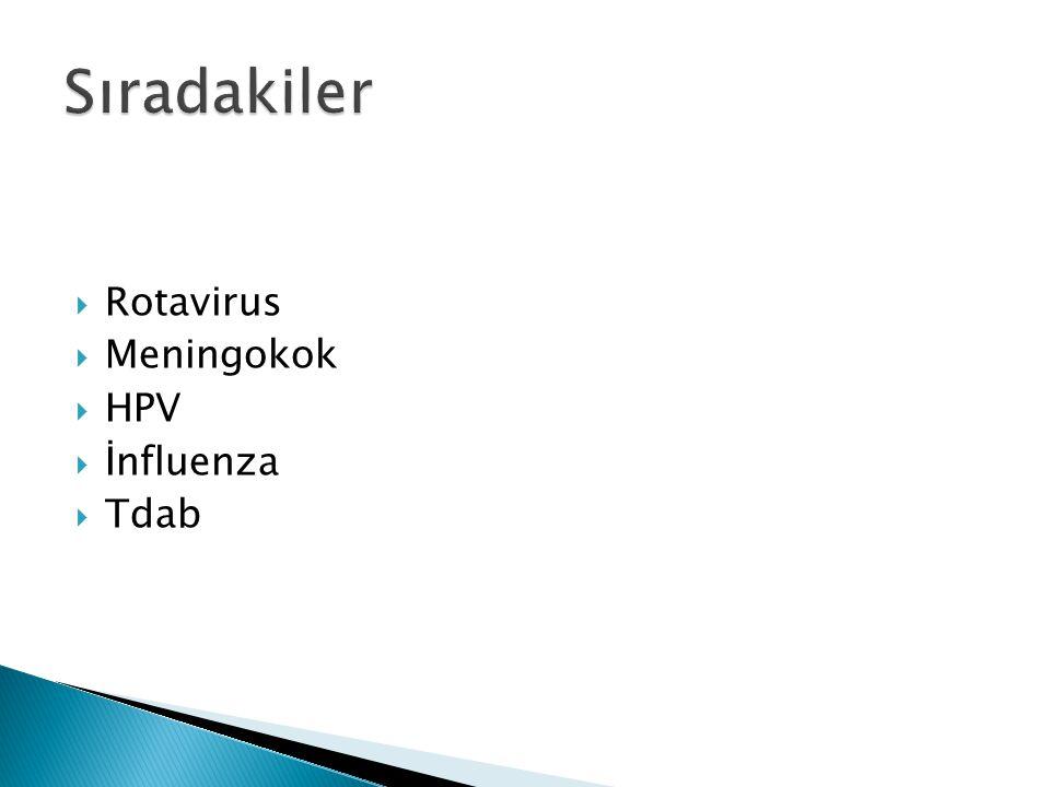 Sıradakiler Rotavirus Meningokok HPV İnfluenza Tdab