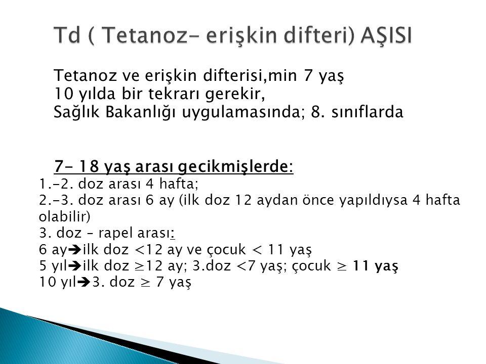 Td ( Tetanoz- erişkin difteri) AŞISI