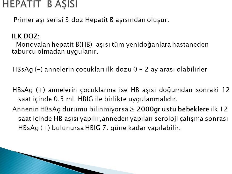 HEPATİT B AŞISI Primer aşı serisi 3 doz Hepatit B aşısından oluşur.