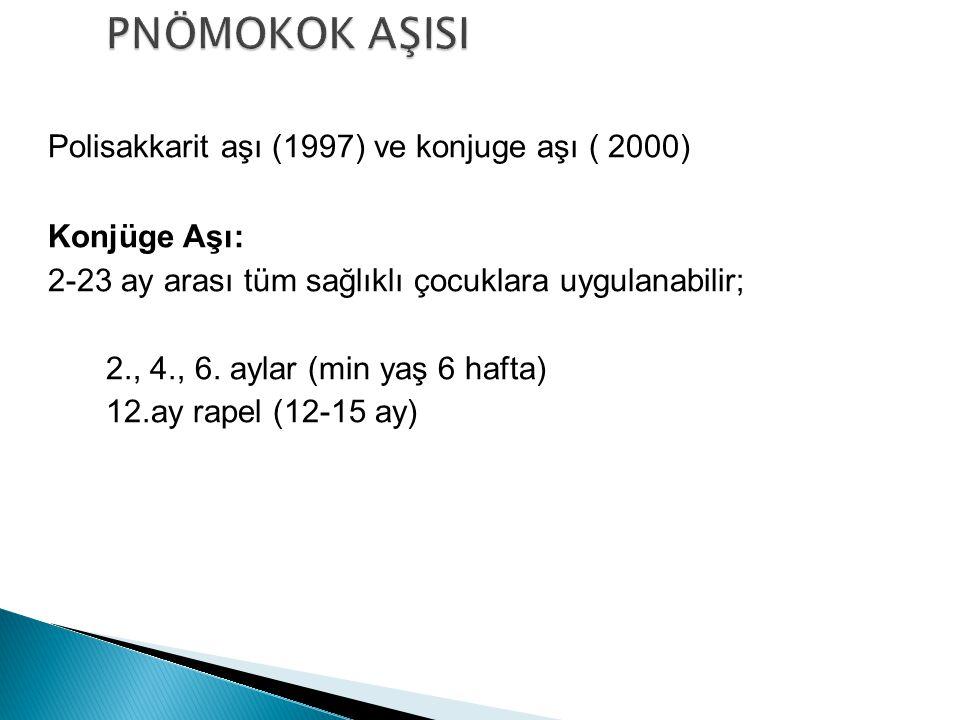 PNÖMOKOK AŞISI Polisakkarit aşı (1997) ve konjuge aşı ( 2000)