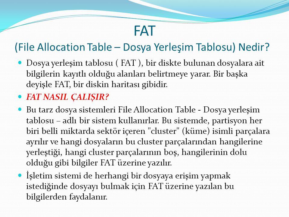 FAT (File Allocation Table – Dosya Yerleşim Tablosu) Nedir