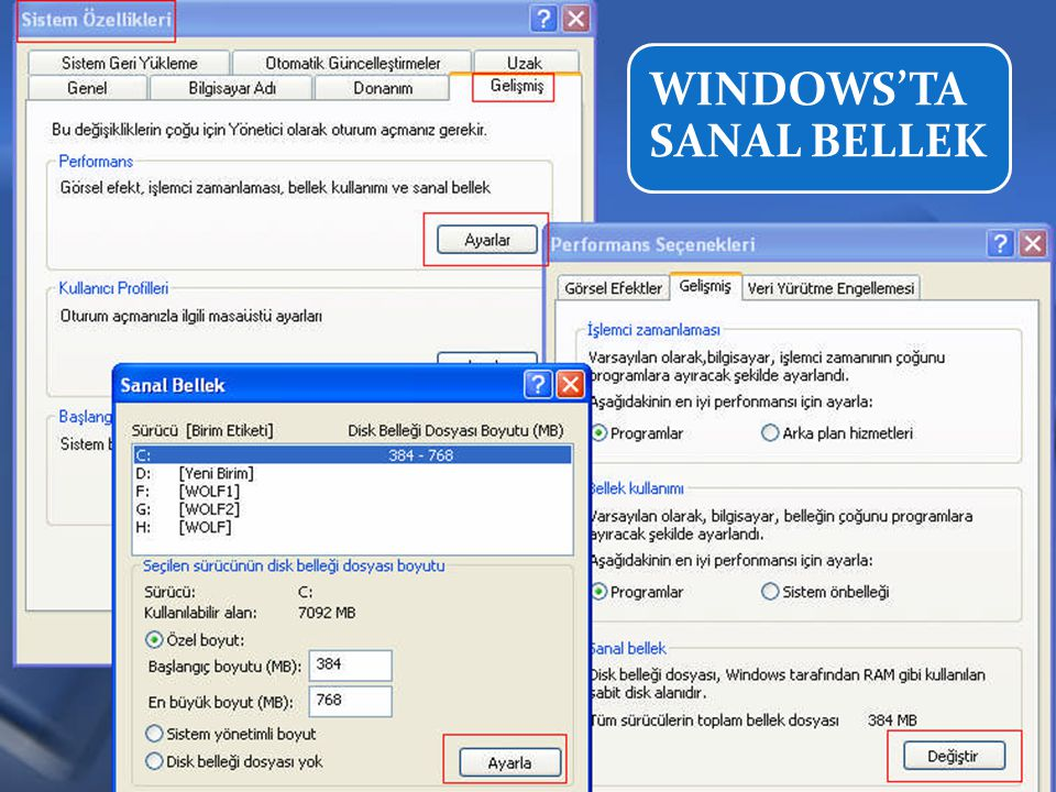 WINDOWS'TA SANAL BELLEK