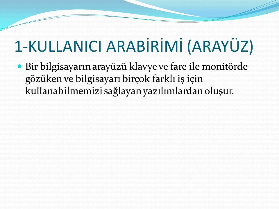 1-KULLANICI ARABİRİMİ (ARAYÜZ)