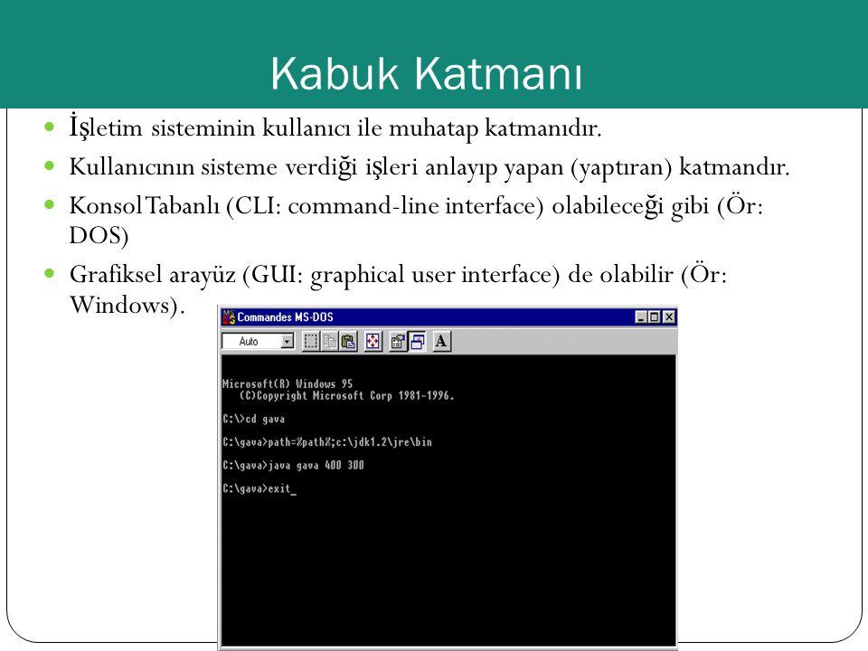 Kabuk Katmanı İşletim sisteminin kullanıcı ile muhatap katmanıdır.