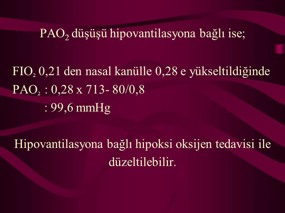 PAO2 düşüşü hipovantilasyona bağlı ise;