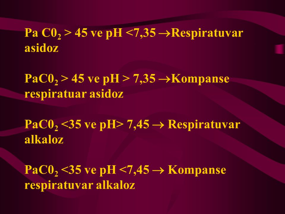 Pa C02 > 45 ve pH <7,35 Respiratuvar asidoz PaC02 > 45 ve pH > 7,35 Kompanse respiratuar asidoz PaC02 <35 ve pH> 7,45  Respiratuvar alkaloz PaC02 <35 ve pH <7,45  Kompanse respiratuvar alkaloz