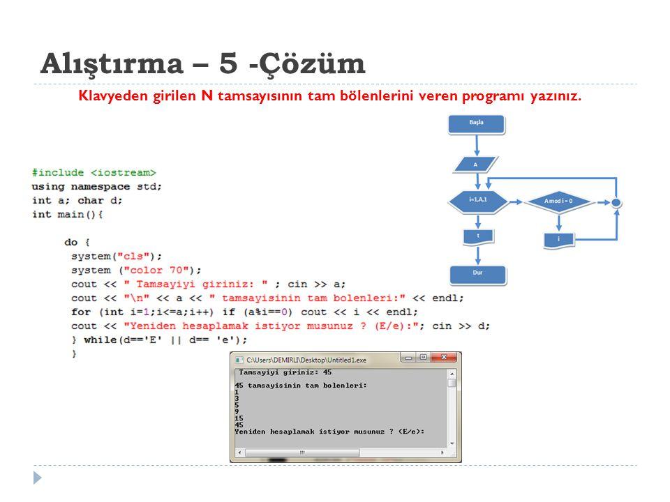 Alıştırma – 5 -Çözüm Klavyeden girilen N tamsayısının tam bölenlerini veren programı yazınız.